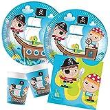 Procos – Kinderpartyset Pirat, Treasure Hunt, kompostierbar, Teller, Becher, Servietten, Tischdeko, Kindergeburtstag, Grillparty, Motto Party
