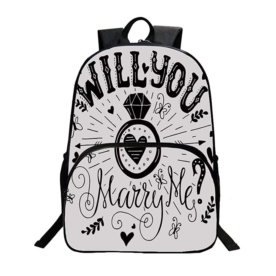 Engagement Party Decorations Fashionable Backpack,Western Themed Will YOu Marry Me Quote with Hearts Image for Boys,11.8