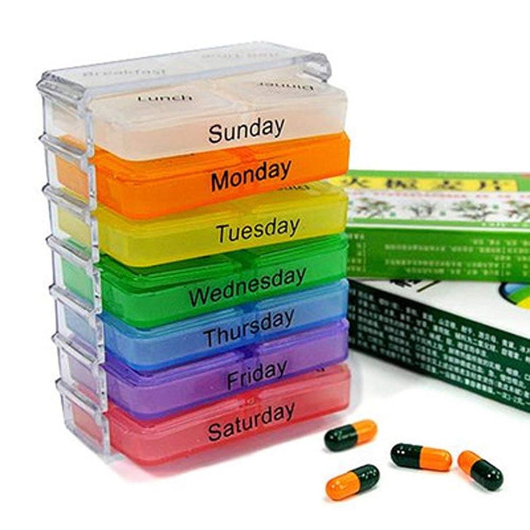 結論市長爵薬箱が付いている7層の折る小さい丸薬箱 - 多彩
