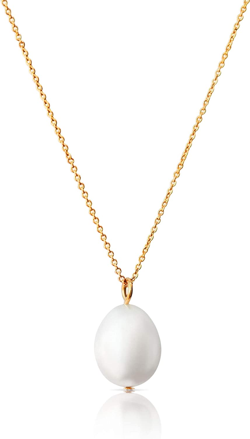 Single Pearl Necklace for Women | White Dainty Pearl Drop Pendant, 14k Gold Dipped | Elegant Gold Chain Necklace, Perfect for Layering | 14k Gold Necklace for Women | June Birthstone Necklace