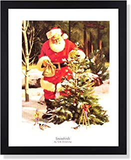Old St Nick Santa Clause Decorating Outdoor Pine Tree with Elves Tom Browning #7 Christmas Black Framed Picture Art Print 16x20