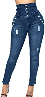 Qootent Women Full Jeans Four-Breasted Pencil Pants High Waist Regular Trousers