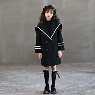 Girls Woolen Coat Navy Style Long Childrens Woolen Coat High Quality (Color : Black)