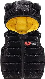WOCACHI Baby Toddler Puffer Vest, Bear Ear Sleeveless Solid Windproof Down Coat Zipper Hooded Lightweight Waistcoat