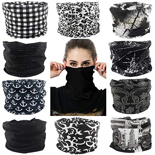 Cutewing 10PCS Magic Headband Scarf Neck Gaiter Elastic Seamless Bandanas Outdoor UV Face Mask Sport Headwear for Yoga Hiking Riding Fishing with Black Series