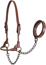 Derby Originals Bronze Beauty Premium Round Rolled Leather Cattle Show Halter with Matching Chain Lead