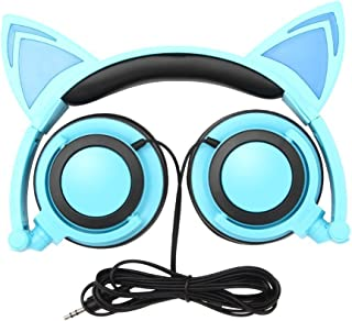 Cat Ear Headphones, GOGOING Kids Headphones with LED Flash Wired Mode, Foldable Game Headset fit Smartphones iPhone, Andro...