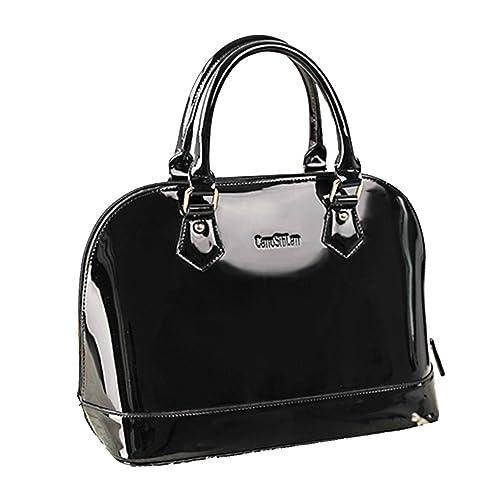 ea99ae6490b7c Yan Show Women s Satchel Purse Large Tote Lady Shoulder Bag Patent Leather  Handbag Top Handle Shell