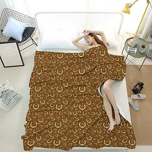 Western Sofa Blanket,Horse Shoe Motif Vintage Pattern with Star Symbol Barn Lucky Charm Design Brown Pale Yellow,Soft,Fuzzy,Cozy,Lightweight Blankets 70 x 90 Inch