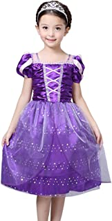 FloweryOcean Toddler Tangled Dress Up, Princess Costume for 3-10 Years Girls When Rapunzel Party M -XXL