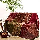 Sofaüberwurf, Möbelschutzdecke aus Chenille-Jacquard mit Fransen, mediterraner Stil, Decke für alle Jahreszeiten, rot / grün, 220*260CM