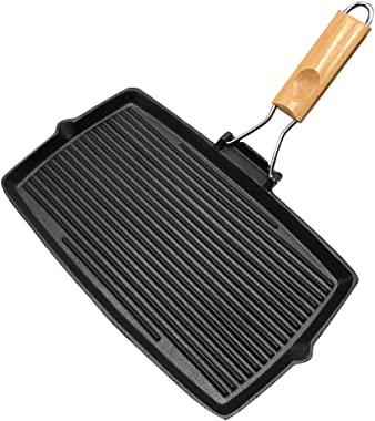 Rectangle Stripes Cast Iron Frying Pan Uncoated Non Stick Skillet 2 Pieces