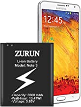 Note 3 Battery ZURUN 3500mAh Li-ion Battery Replacement for Samsung Galaxy Note 3 N900, Verizon N900V, Sprint N900P, T-Mobile N900T, AT&T N900A, N9005 LTE [2 Year Warranty]