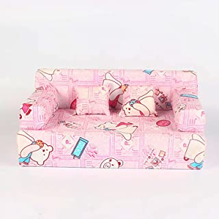 TBoxBo 2Pcs Mini Sofa New 2021 Lovely Dolls House Furniture Couch Cloth Bear Floral Prints Sofa with 4 Pillows Miniature A...