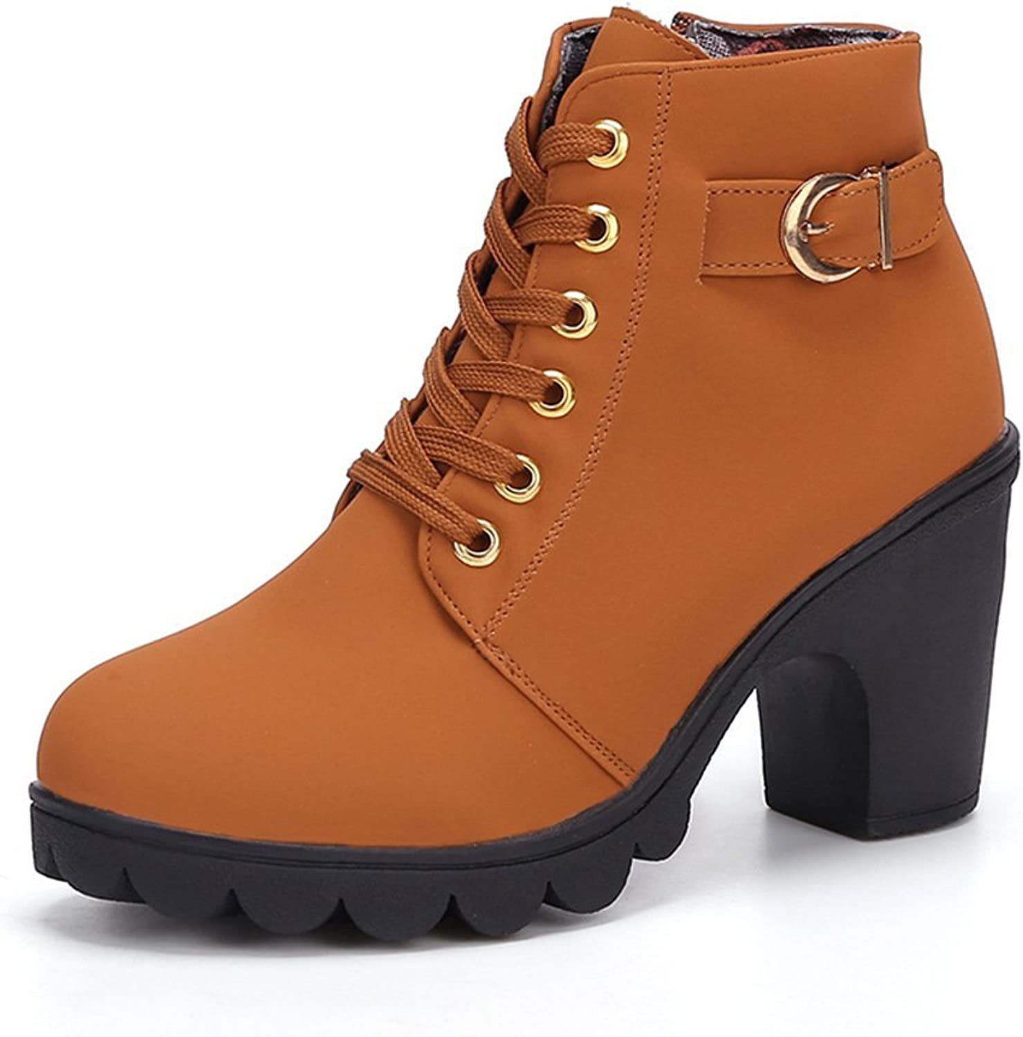PP Fashion Women's Formal Lace-up High Top Chunky PU Queen Ankle Boots Casual shoes with Lug Sole