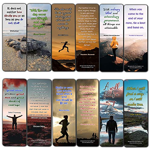 Inspirational Quotes Bookmarks Cards Series 2 (12 Pack) - Collection of Inspiring Quotes from Famous Authors - Reverence Bible Texts VBS Sunday School Easter Baptism Thanksgiving Christmas Rewards