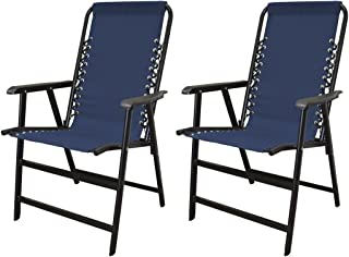koonlert14 Outdoor Patio Folding Double Bungee System Chair Sturdy Steel Frame Lightweight Comfortable Durable Textaline Fabric Porch Garden Furniture - Set of 2 Blue #1940