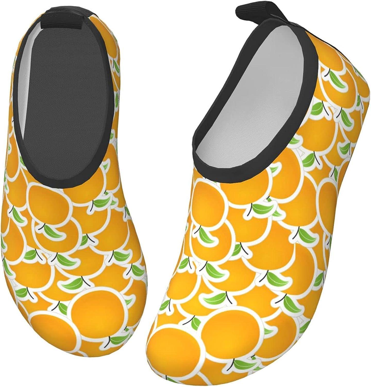 Jedenkuku Cute Orange Cartoon Fruit Children's Water Shoes Feel Barefoot for Swimming Beach Boating Surfing Yoga