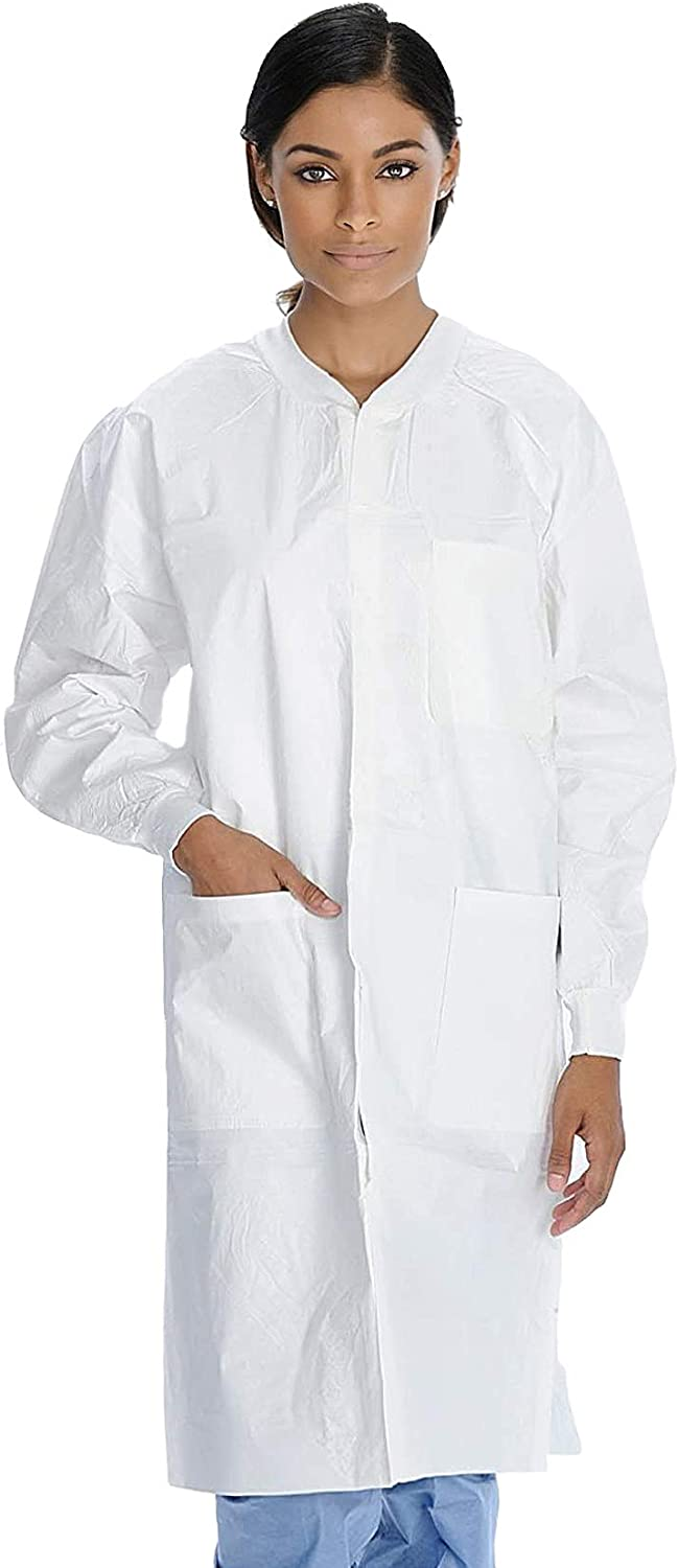 AMZ Disposable Lab Coats. Pack of 10 White XX-Large Splash Proof 0.15 mm SMS Frocks for Industrial Applications. Unisex Adult Stuff Jackets with Long Sleeves, Knit Collar, Knit Cuffs, 3 Pockets. - -