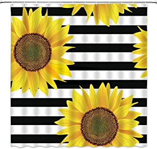 MNSC Sunflower Shower Curtain Brown Bright Sunflowers Floral on Striped Black and White Beautiful Wild Flower Summer Nature Fashion Pattern Decor Fabric Bathroom Curtain 71x71IN with Hooks,Yellow