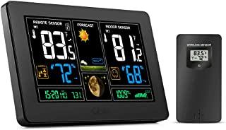 GBlife Wireless Weather Station, Color Forecast Station, Digital Indoor Outdoor Thermometer with Remote Sensor, Color Display, Humidity Monitor, Barometer, Temperature Alerts (Black)