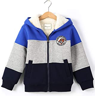 Bumeex Boys Spring Jacket Sherpa Fleece Lined Zip up Hoodie for 2-14years