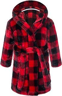 Girls Boys Bathrobes,Plush Soft Cartoon Flannel Hooded Pocket Sleepwear for Kids