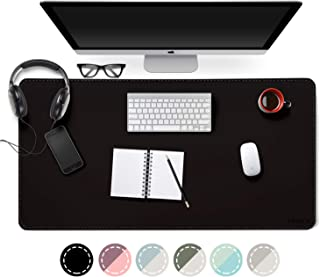 EMINTA Dual Sided Desk Pad, 2019 Upgrade Sewing PU Leather Office Desk Mat, Waterproof Desk Blotter Protector, Desk Writing Mat Mouse Pad (Classical Black, 31.5