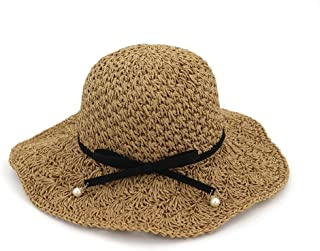 Fashion Hats, Caps,Elegant Hats, Natural Caps Spring Summer Straw Sun Hat Women Folding Outdoor Sunscreen Big Bow Bow Pearl Beach Handmade Crochet Sun Hat Visor Basin Cap Raffia Hat