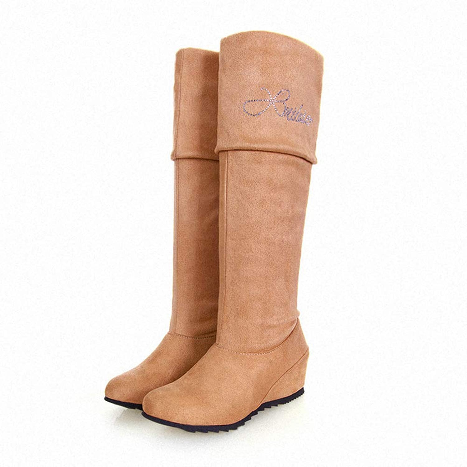 T-JULY Rushed Winter Boots Women women Big Size Long Boots Round Toe Square High Height Increasing Quality
