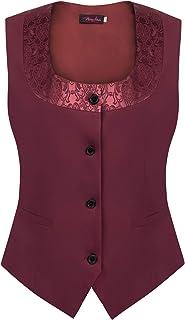 Plus Size Waistcoat Vest Women Vintage Button Down Suit Dressy Vest