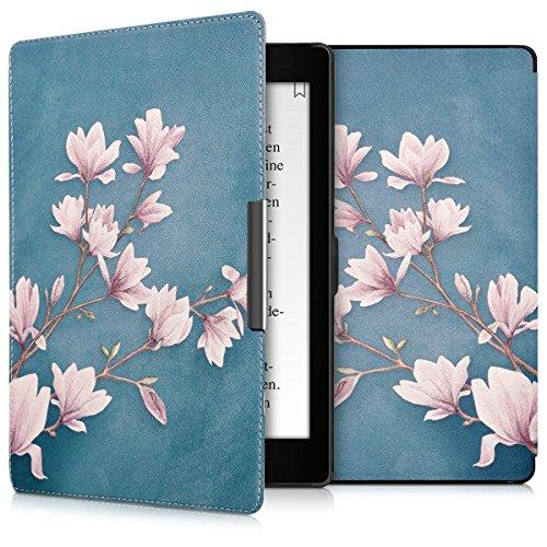 kwmobile Hülle kompatibel mit Kobo Aura ONE - Kunstleder eReader Schutzhülle Cover Case - Magnolien Taupe Weiß Blaugrau