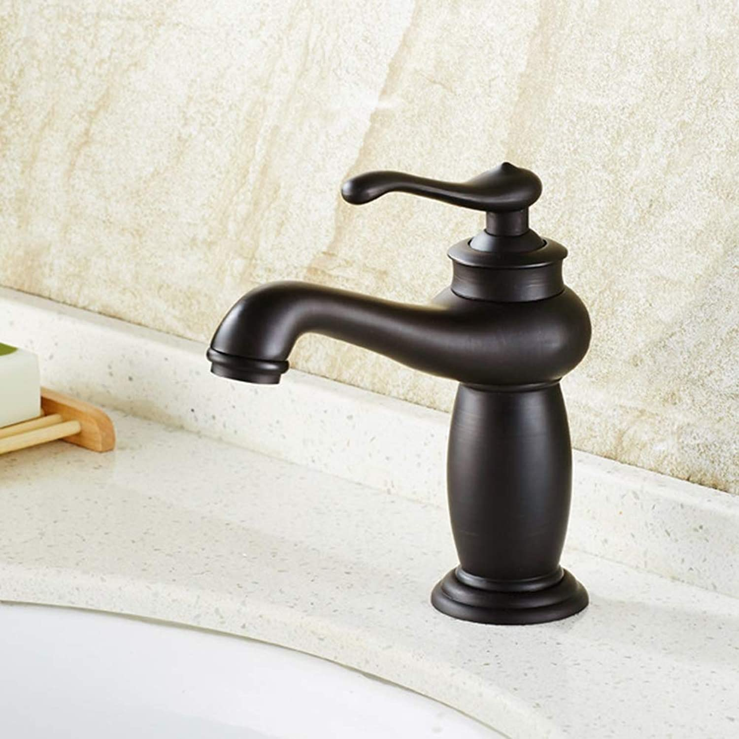 BYGenMai Bathroom Sink Faucet Single Handle One Hole in Oil-rubbed Bronze Cold Hot Water Black Contemporary Mixer Tap