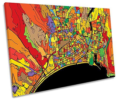 Canvas Geeks Lienzo Decorativo para Pared con diseño de Mapa Moderno de la Ciudad de Francia, 60cm Wide x 40cm High