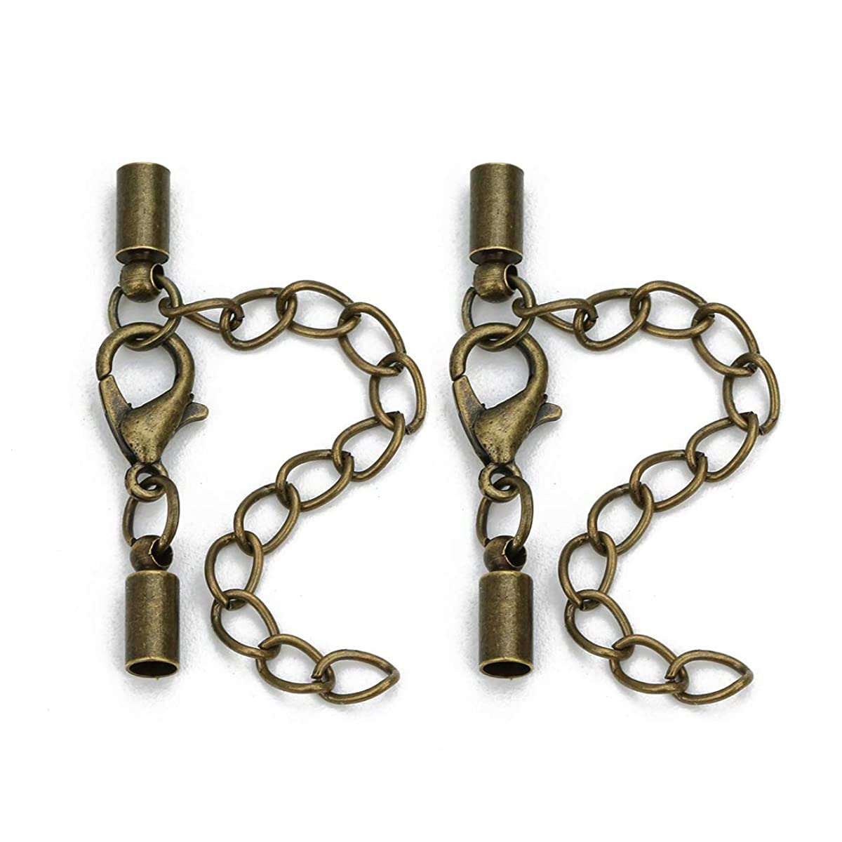 Forise 20pcs Leather Cord End Clasps Connectors with Lobster Clasp end caps Extender Chain for DIY Jewelry Making?Necklaces Bracelets (Antique Bronze, 3mm)