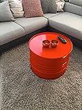Fassmöbel Beistelltisch Ölfass Tisch Fass Design Möbel Couchtisch Orange Ø 57cm