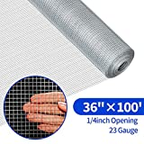 Amagabeli 36in Hardware Cloth 100ft 1/4 Mesh Galvanized After Welded Wire 23 gauge Metal Roll Vegetables Garden Rabbit Fencing Snake Fence for Chicken Critters Gopher Racoons Opossum Rehab Cage Window