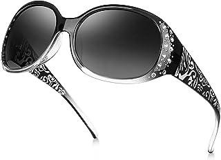 Rhinestone Polarized Sunglasses for Women, Retro Wrap...