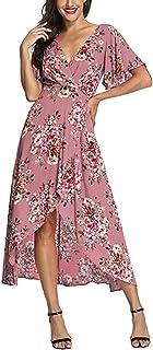 HIKO23 Women Wrap Maxi Dress Short Sleeve V Neck Floral Chiffon Flowy Front  Slit High Low 04b186567
