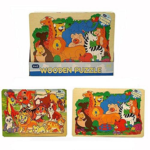 Jungle Animal Design Wooden Puzzle Jigsaw Children's Kids 12 Months+