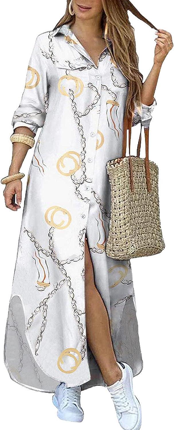 Kuraki Women's お得クーポン発行中 Casual Print Button Shirt 舗 Maxi Dress Front
