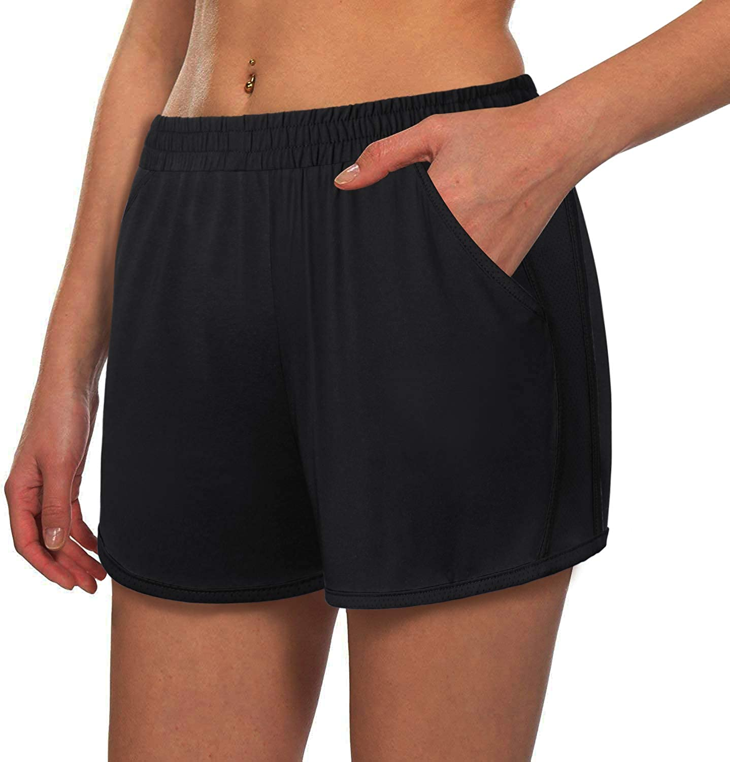 Kimmery Women's Lightweight Patchwork Yoga Double Complete Free Cheap sale Shipping Layers Shorts