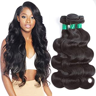 Pecwu Hair 10A Brazilian Hair Body Wave 3 Bundles 100% Unprocessed Brazilian Human Hair Weave Weft Natural Color Good Quality Brazilian Remy Human Hair Extensions Weaving (12
