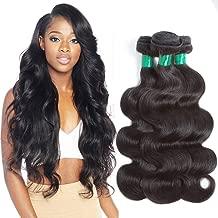 Pecwu Hair 10A Brazilian Hair Body Wave 3 Bundles 300g Deal 100% Unprocessed Brazilian Human Hair Weave Weft Natural Color Brazilian Remy Human Hair Extensions Weaving (22