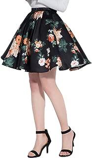 Women's Cute Birds Printed Flared Mini Skirt Casual Circle Skirts