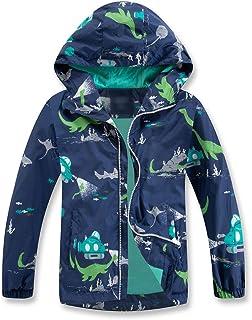 TLAENSON Boys Girls Rain Jacket Waterproof Dinosaur Windbreaker Lightweight Hooded Raincoat Blue Size 150 11-12T