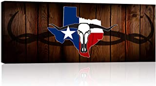 Welmeco Large Wall Art Rustic American Texas State Flag with Abstract Longhorn Skull Canvas Prints Framed and Stretched Picture for Living Room Office Wall Decoration (01 Texas Flag)