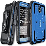 COVRWARE Aegis Series Case for Samsung Galaxy J3 2018/J3 V 3rd/Express Prime 3/Achieve/J3 Star/Orbit/Amp Prime 3 Built-in Screen Protector Heavy Duty Full-Body Armor Belt Clip Holster Case, Blue