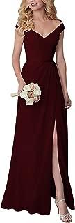 Off Shoulder V-Neck Long Chiffon Bridesmaid Wedding Evening Dress