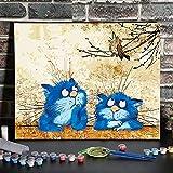 TVVT Kit de pintura digital por números, pintura al óleo, pintura acrílica al óleo, rellena la pintura decorativa, gato azul 40 x 50 cm, sin marco, para principiantes, decoración del hogar